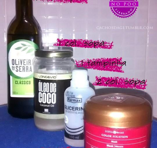 Hidratação/Nutrição com Azeite de Oliva, Óleo de Côco e Glicerina